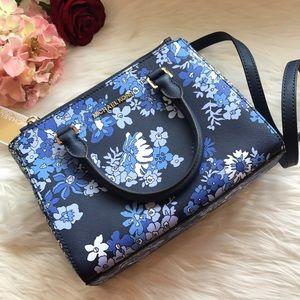 Michael Kors Kellen Blue Floral Satchel NWT
